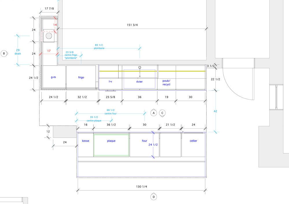 - Ce projet s'inscrit dans un projet d'une rénovation d'un condo à Montréal. Bois, laque et pierre naturelle sont les piliers de ce design où les contrastes se juxtaposent pour créer un design de cuisine à la fois dynamique et harmonieux. Les lattes verticales de chênes blancs participent à la transition entre les pièces de façon à mieux intégrer la cuisine dans l'espace de vie.Matériaux: chêne blanc massif, placage de chêne blanc, laque de polyuréthane blanche et grise 30% de lustre, comptoir de quartzite.