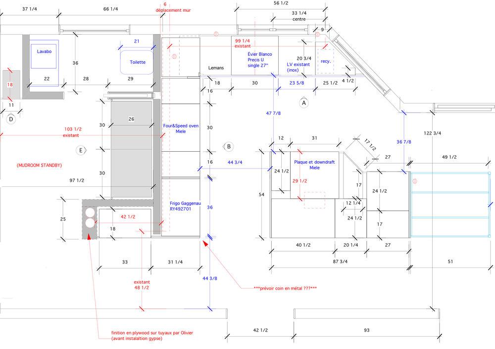 - Cette cuisine a été conçu pour se modeler à l'espace typique des maison montréalaises.Suivant les angles de la pièce l'îlot central épouse à merveille l'espace pour offrir un maximum de rangement et de superficie de comptoir.Les couleurs sombres de la laque et de la structure d'acier côtoient la richesse du bois pour créer une atmosphère riche et sophistiquée.Matériaux: laque de polyuréthane grise anthracite avec 30% de lustre,placage de noyer noir d'amérique - effet planche,comptoir et dosseret en dekton.