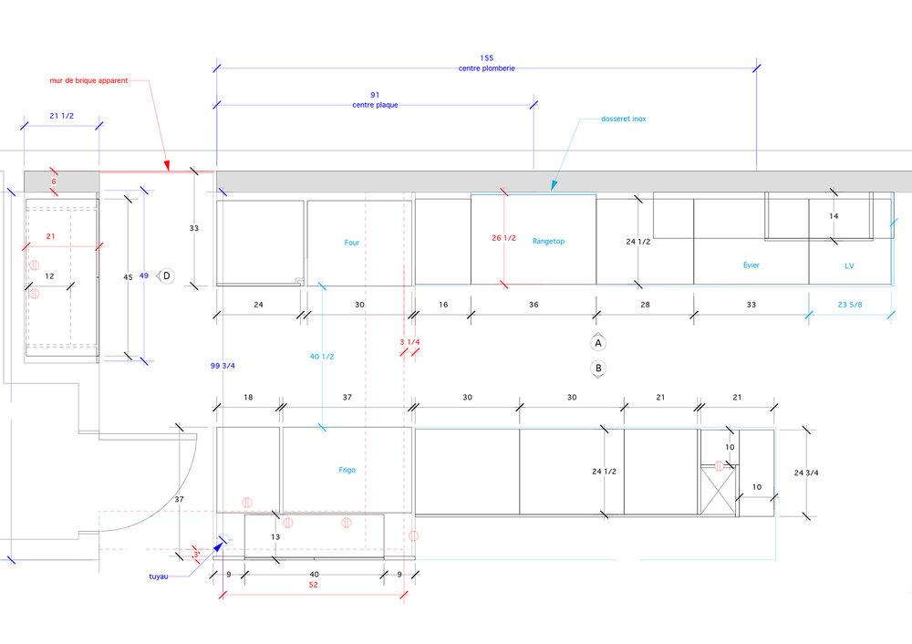 - Cette maison typique, profonde et étroite, du Plateau Mont-Royal de Montréal met en valeur les caractéristiques, telles que les poutres apparentes et murs de brique, propre à ce type de demeure.Cette cuisine expérimente les couleurs, les formes et textures pour créer un espace vivant et dynamique.Une cuisine pour tous qui incite les petites mains à se mettre au boulot pour participer à la création de plats imaginatifs!Matériaux: laque de polyuréthane grise et bleue avec 30% de lustre, placage de noyer noir - effet planche, dosseret de verre, comptoir de quartz.