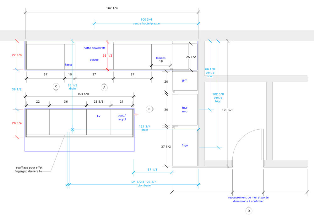 - Articulé autour d'un bloc de noyer cette cuisine, au coeur d'une rénovation majeure, est le point focal de l'étage à aire ouverte.L'utilisation de l'acier à chaud jumelé au noyer noir d'amérique donne un ton dramatique à la cuisine pour une intégration parfaite avec l'architecture des lieux.Matériaux: laque polyuréthane blanche 30% de lustre, dosseret et tablettes en acier à chaud, placage de noyer noir effet planche, comptoir dekton.