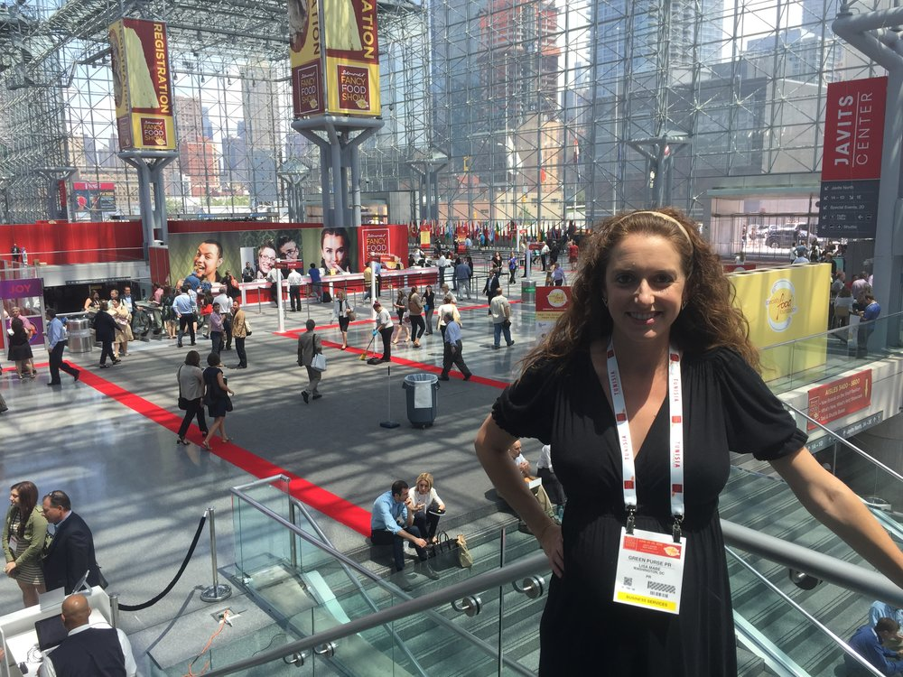 Lisa Mabe (very pregnant) at the Summer Fancy Food Show in NYC, 2016