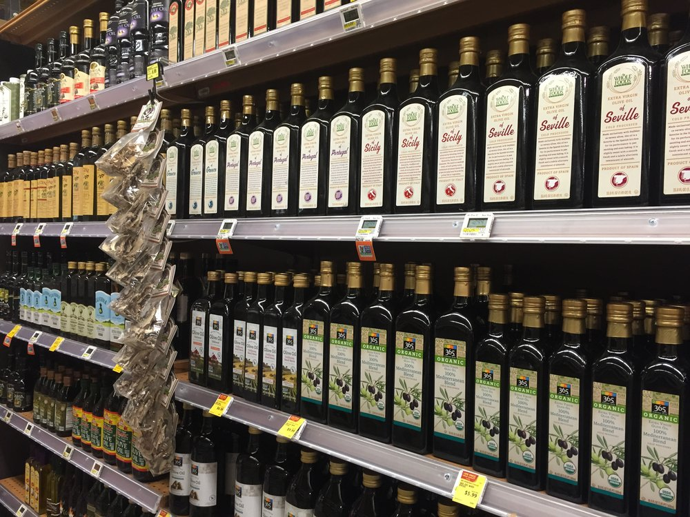 Lots of olive oil; too much olive oil if you ask me! Not specific to WFM, but the US is just flooded with olive oil brands -- super competitive.