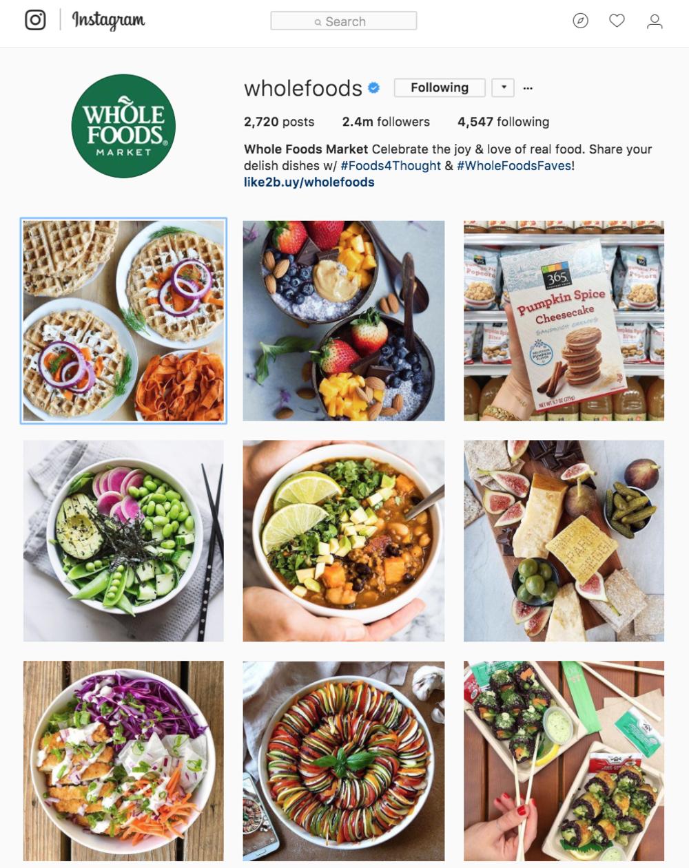 Whole Foods Market Instagram, instagram.com/wholefoods.