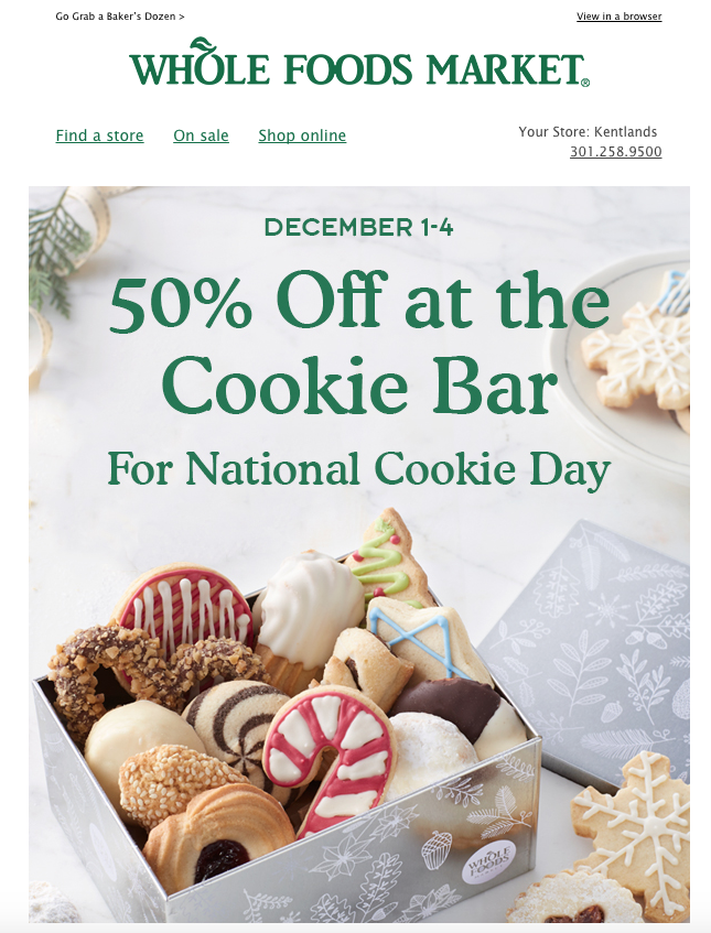 Email promotion from Whole Foods Market