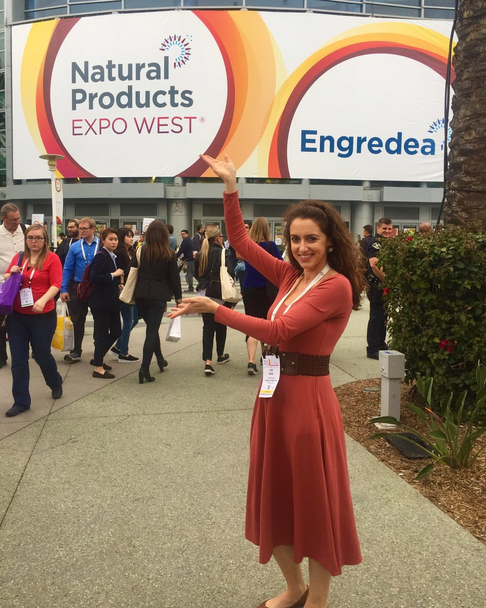 Green Purse PR's Lisa Mabe at the entrance of Expo West