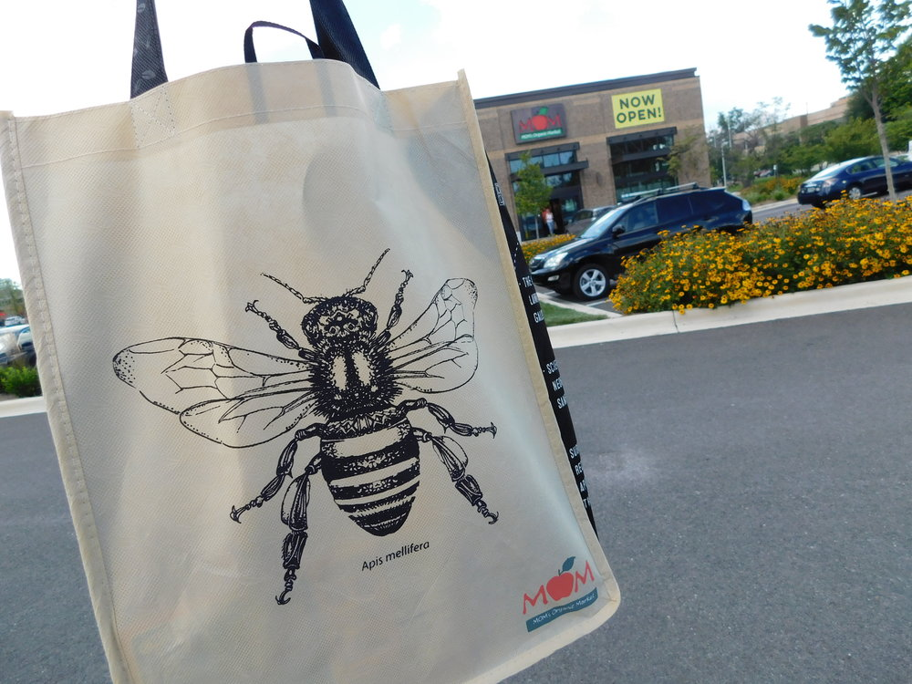 I'm not kidding about the emphasis on bees. Super cute grocery bag!