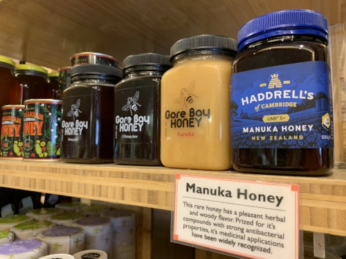 Example of educating shoppers about Manuka honey inside Rockridge Market Hall in Oakland, California