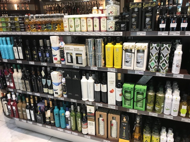 Spanish olive oil products on retail shelves in Spain
