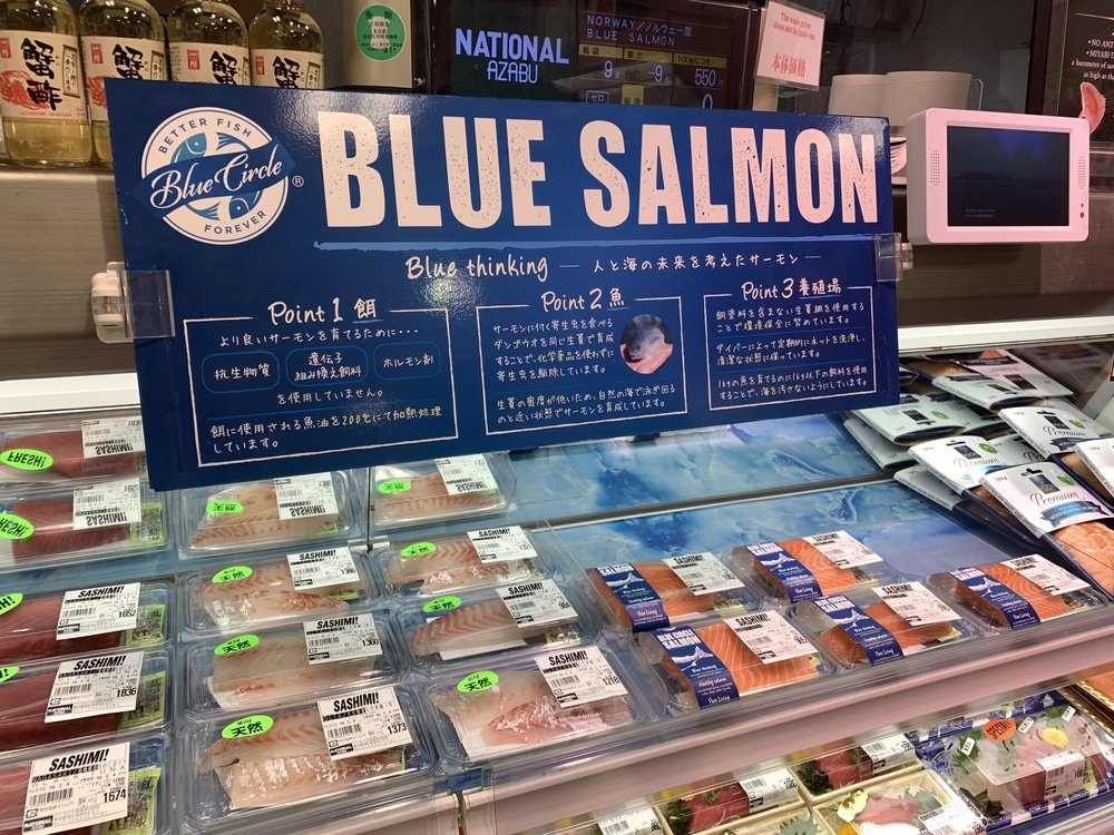 blue circle foods salmon Japan