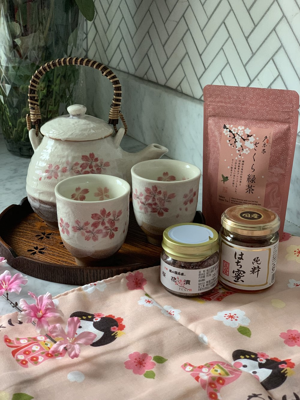 Japanese cherry blossom tea set