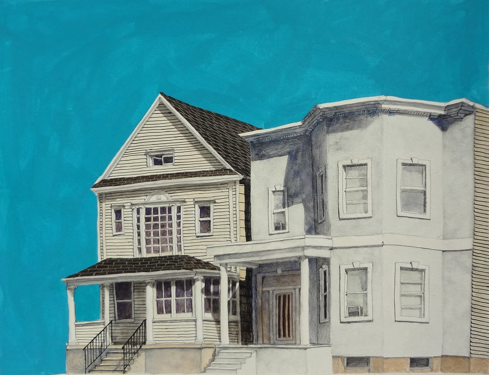 """29th Street"", mixed media on paper, 16""x13"", 2014"