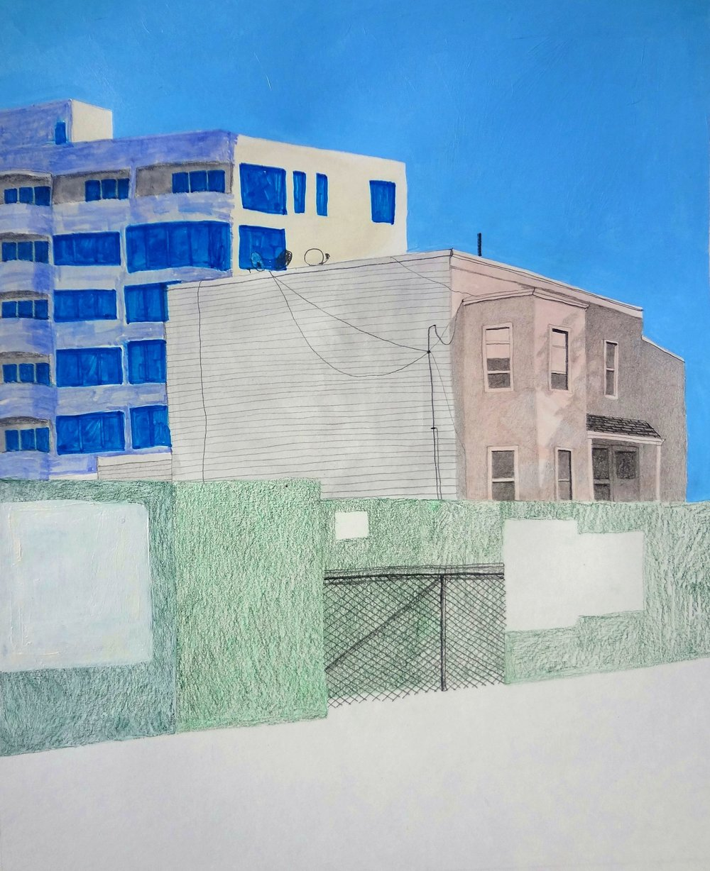 """High Rise Palimpsest 1"", mixed media on paper, 13""x16"", 2015"
