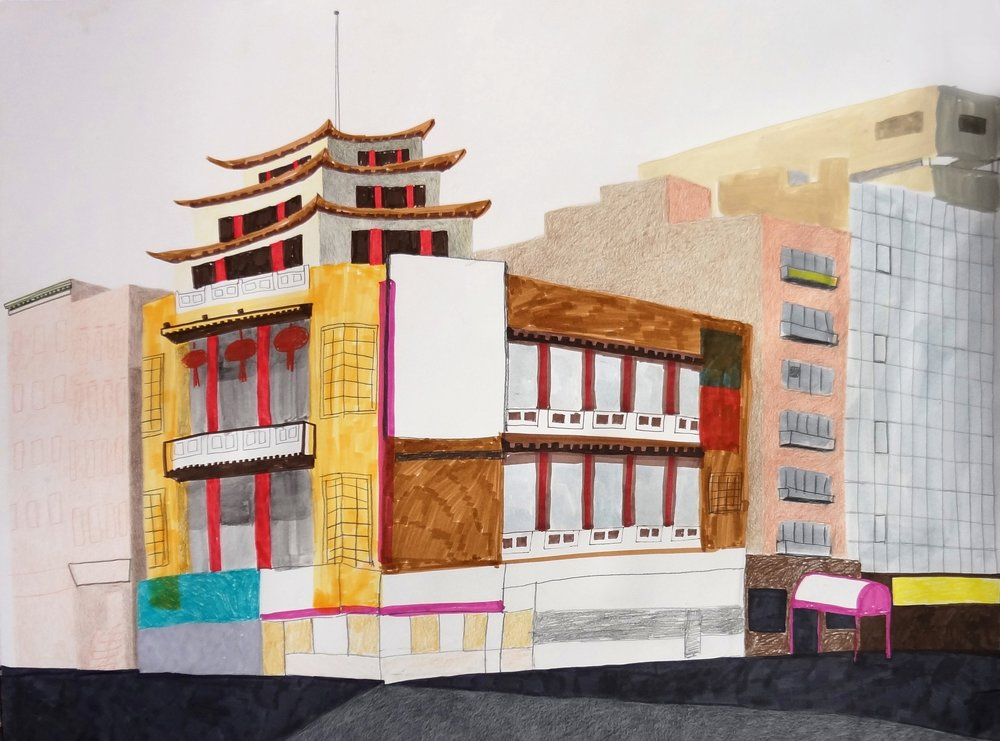 """Chinatown Pagoda"", mixed media on paper, 26""x20"", 2015"