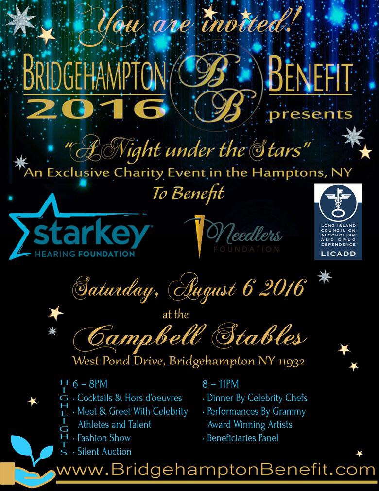 "The event will take place  on Saturday, August 6th from 6:00PM to 11:00PM  at the Campbell Stables, West Pond Drive, Bridgehampton, NY 11932. Not only will you be supporting fantastic organizations and their selfless causes by attending, but you will also meet & mingle with celebrities, enjoy a Fashion Show featuring New York Designers, an art auction, an exotic classic car show and much more! Already confirmed special guests include 50 Cent, Dascha Polanco (Orange is the New Black), Verne Troyer (""Mini Me""), Rita Cosby (Anchor Host WABC), Arnaud De Champvigy (European Top Model), Kim Feenstra & Fatou N'Diyae (Top Models)."