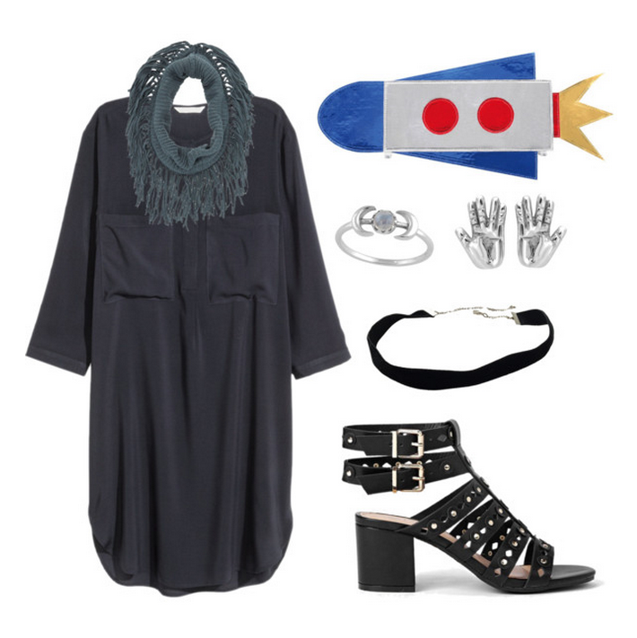 Dress  |  Rocket clutch  |  Ring  |  Earrings  |  CHoker  |  Scarf  |  Sandals