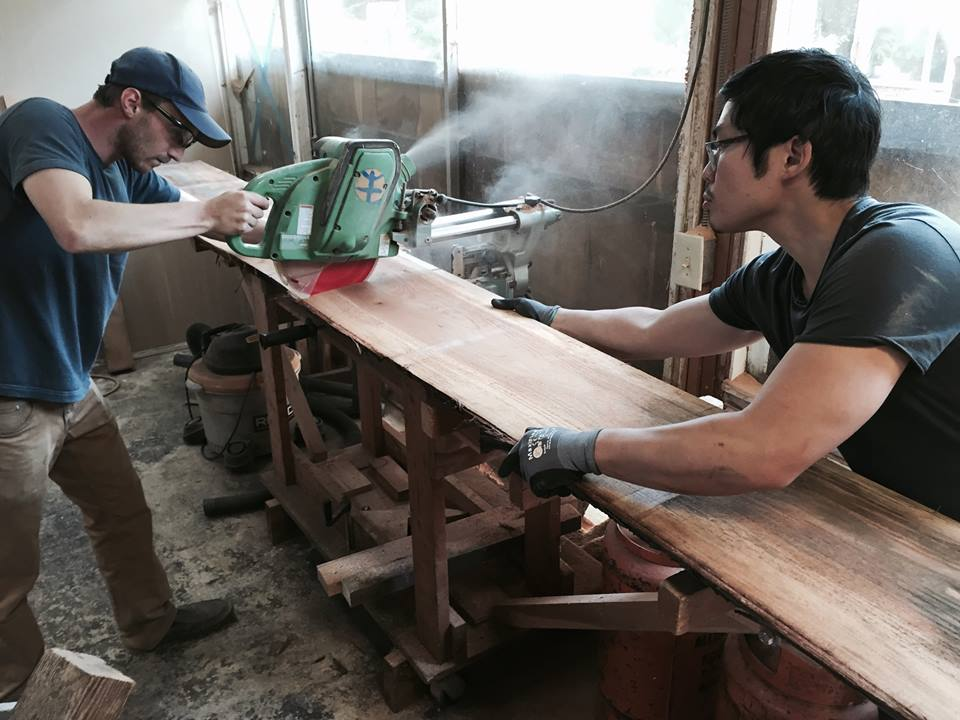 The Perennial's director of agricultural systems, Nathan Kaufman, and co-founder Anthony Myint, trimming boards at our architect's woodshop. (Thanks, Paul!)
