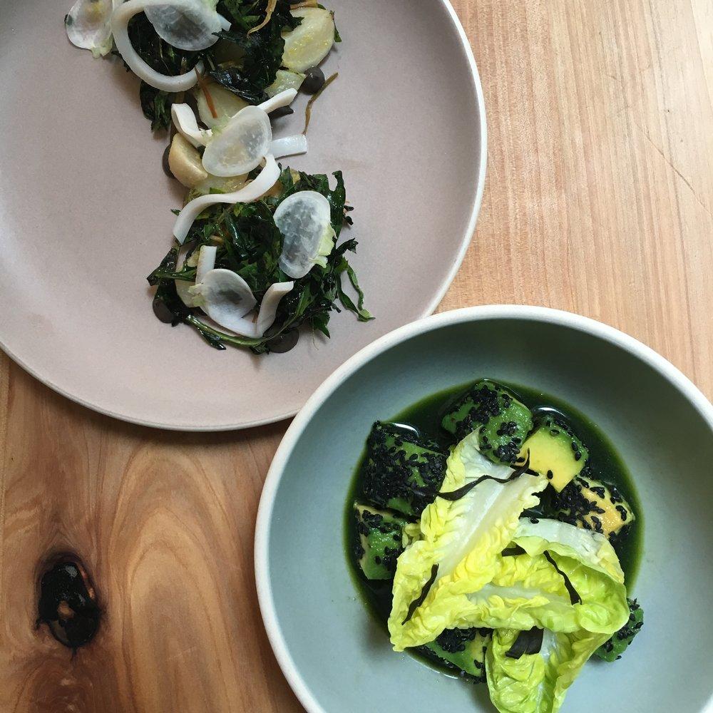 Aquaponic lettuces and kale with lardo