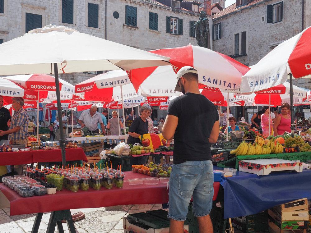 Gunduliceva Poljana market in Old Town Dubrovnik.