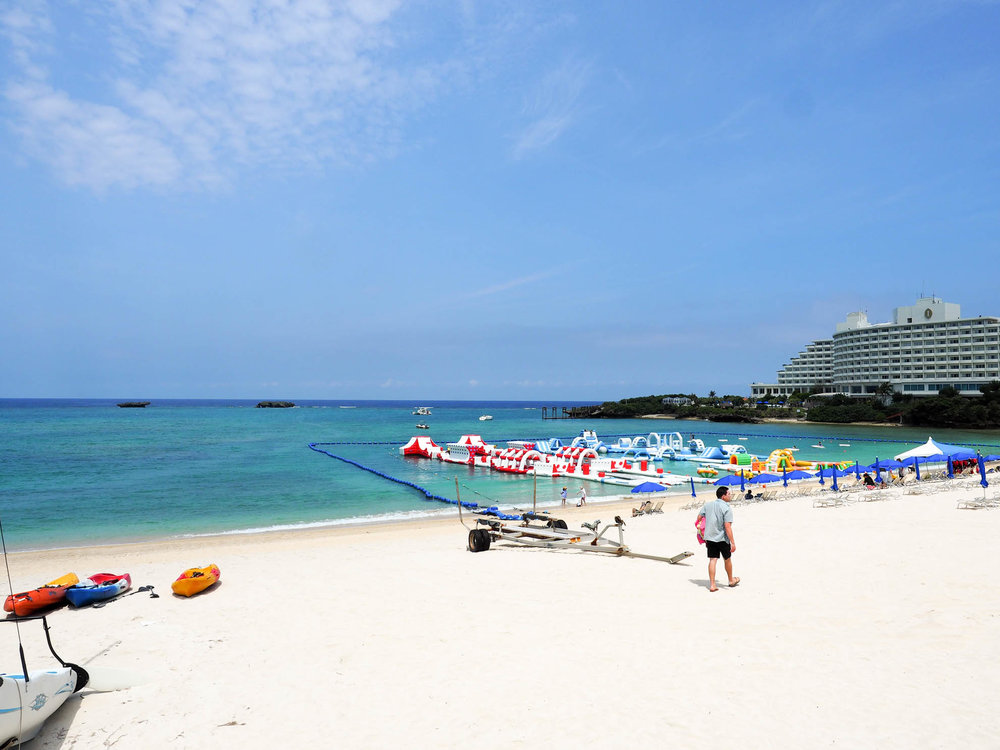 Water play park at Manza Beach in Okinawa.