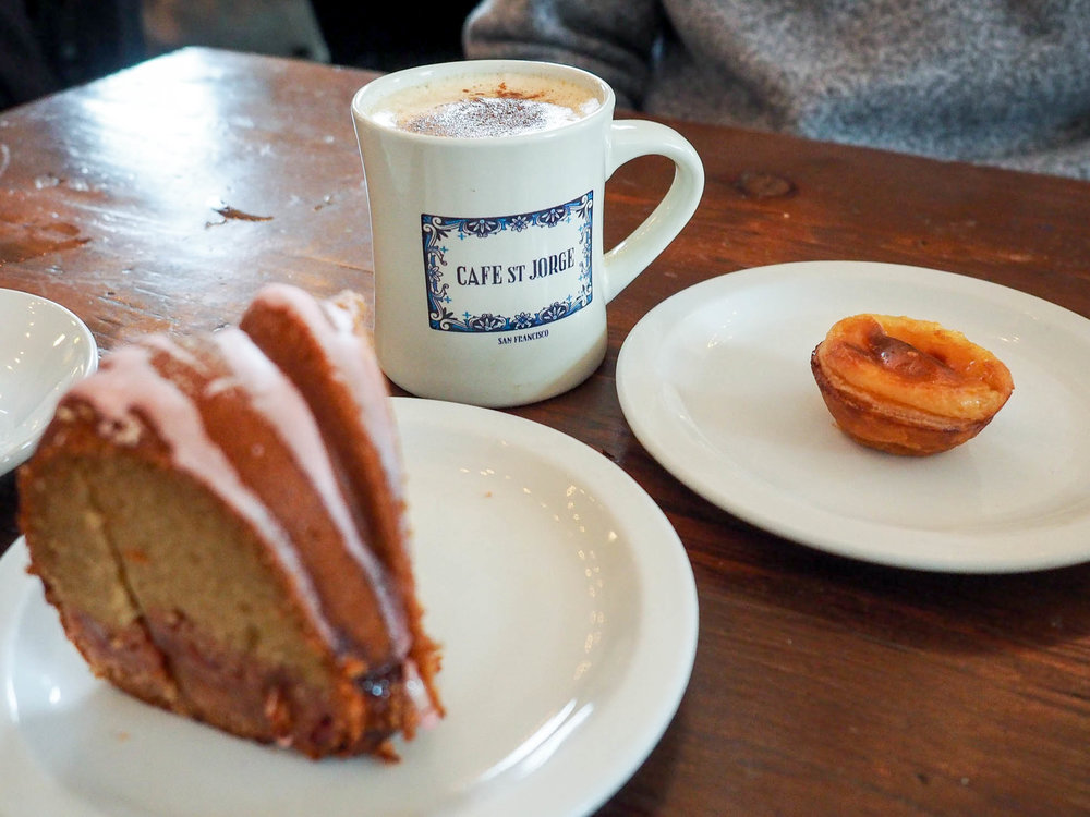 Coffee and baked treats at Cafe St. Jorge, San Francisco's only Portuguese Cafe.