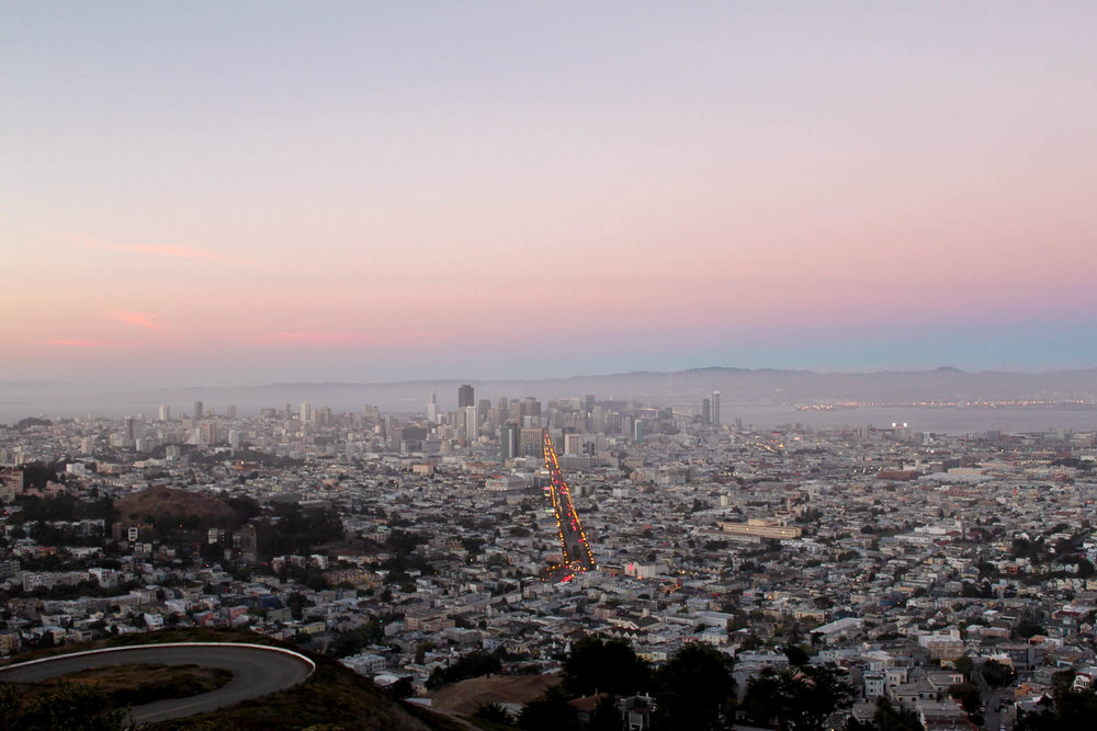 Sunset view of San Francisco from Twin Peaks