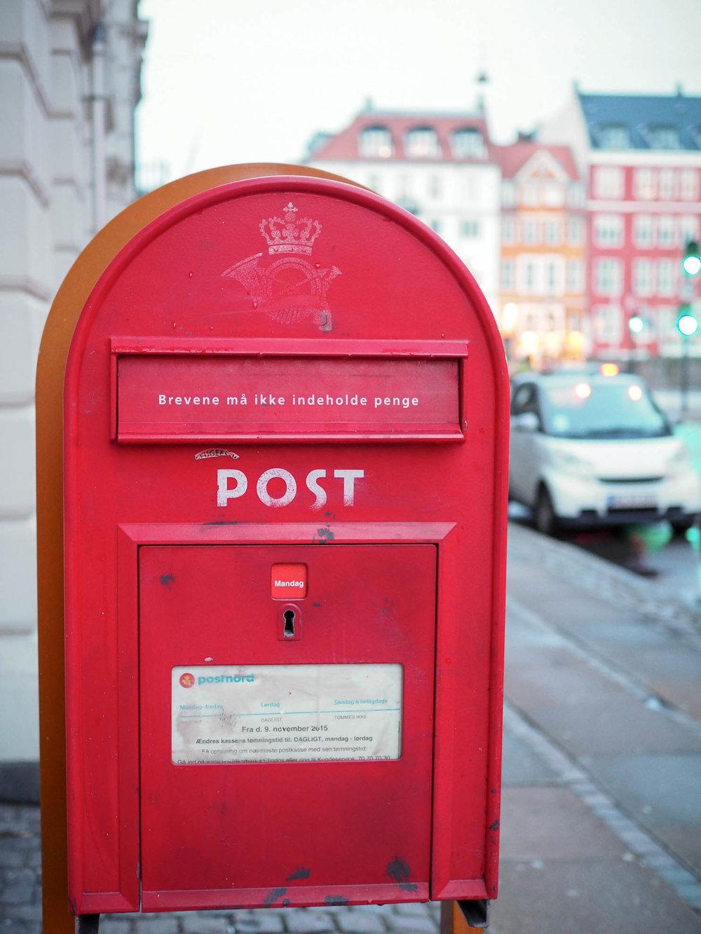 Mailbox on street in Copenhagen, Denmark