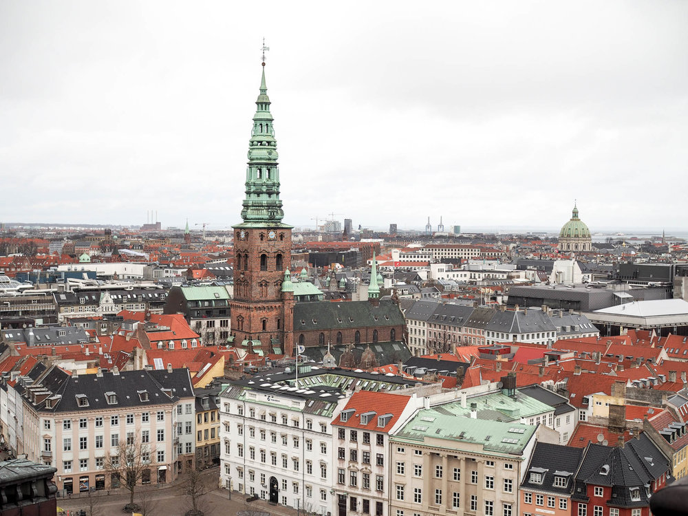 View from tower at Christiansborg Palace in Copenhagen, Denmark