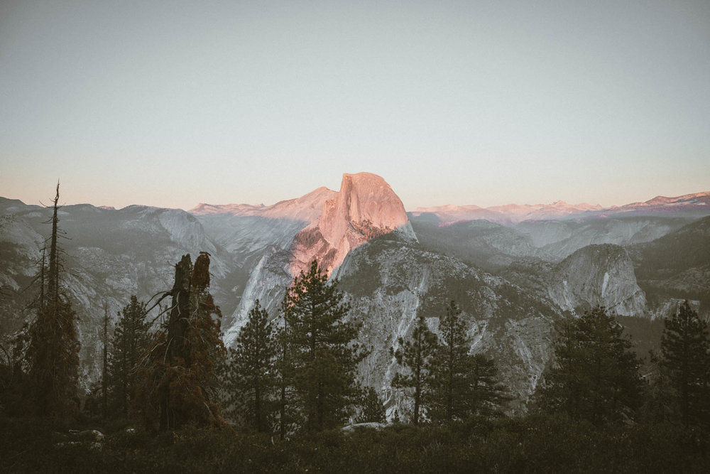View of Half Dome at sunset from Glacier Point