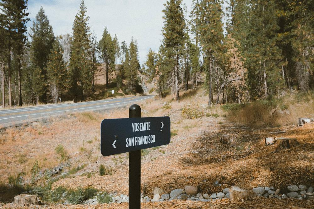 Yosemite and San Francisco sign at Rush Creek Lodge