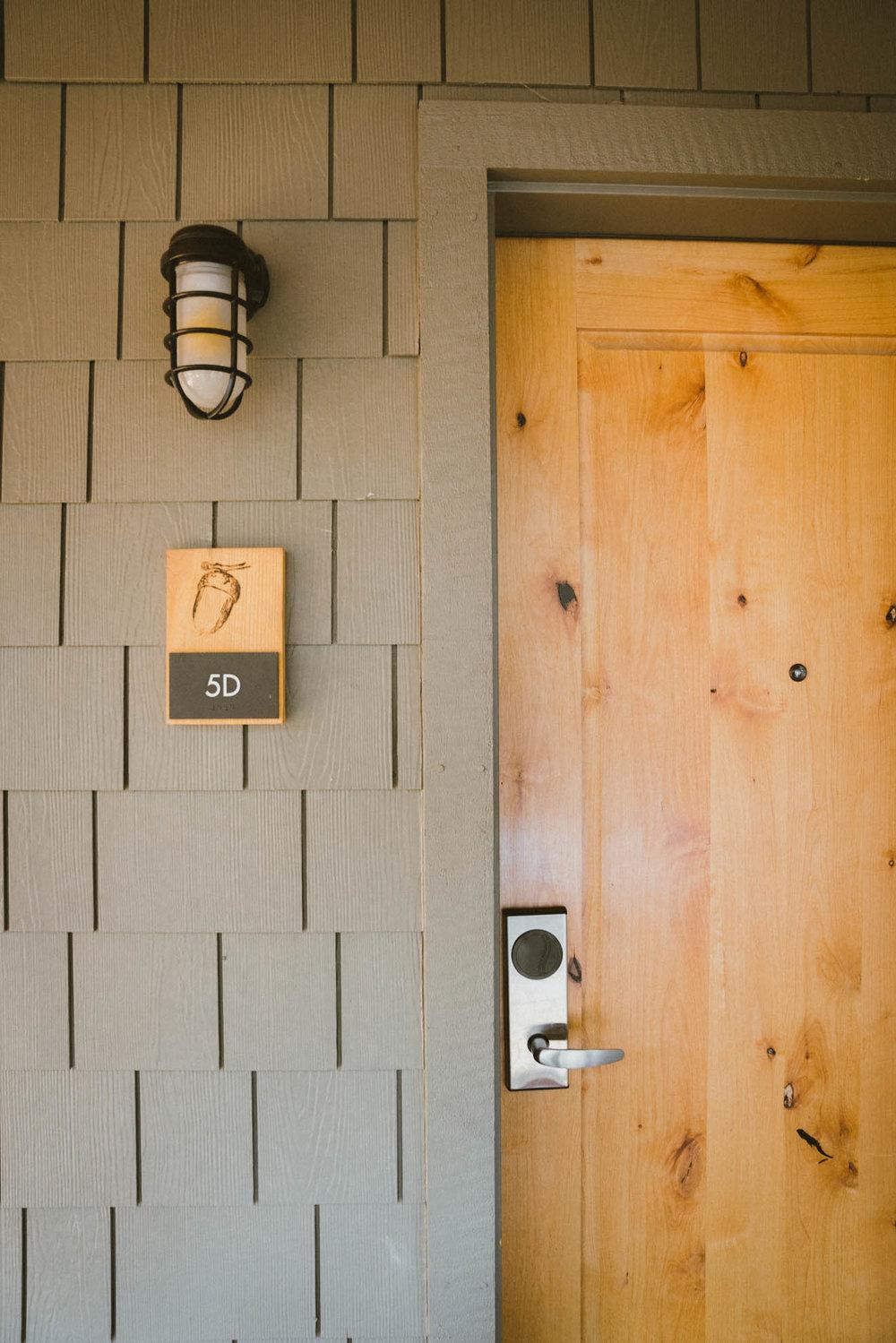Entry to hillside villa at Rush Creek Lodge
