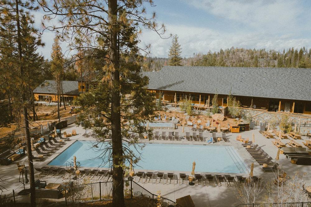 View of the pool at Rush Creek Lodge in Yosemite