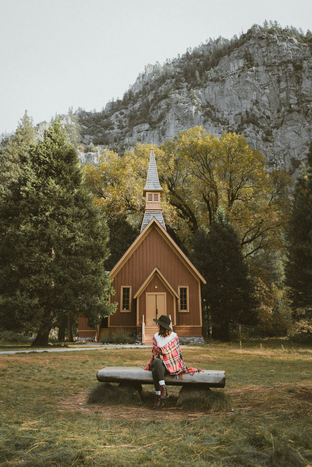 Sitting in front of Yosemite Valley Chapel