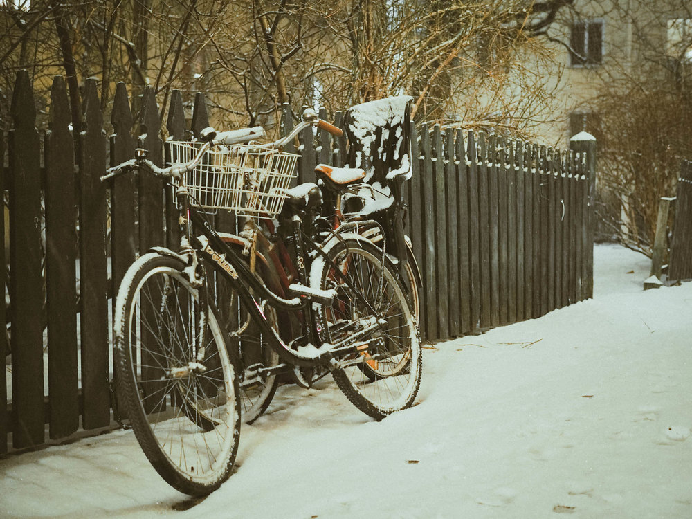 Snowy bike in Stockholm