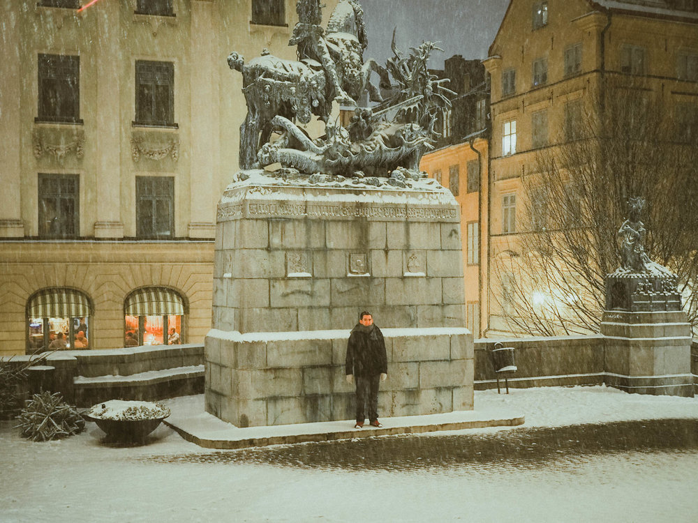 Man in the snow in Stockholm