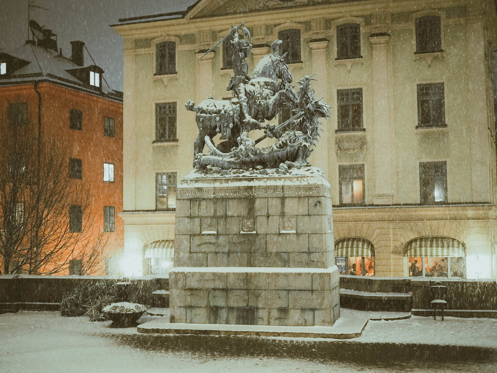 Snowy night in Stockholm