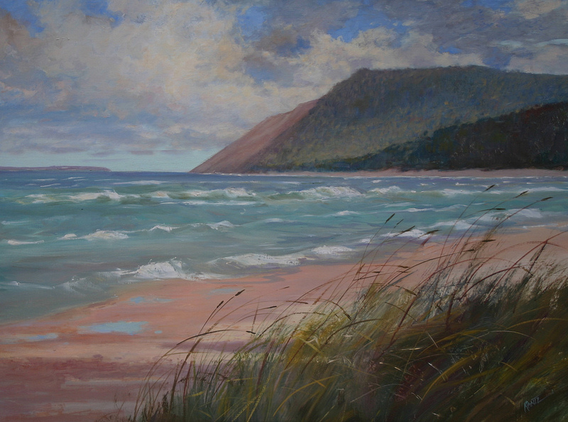 dunes from empire beach 30 x 40 oil  S O L D