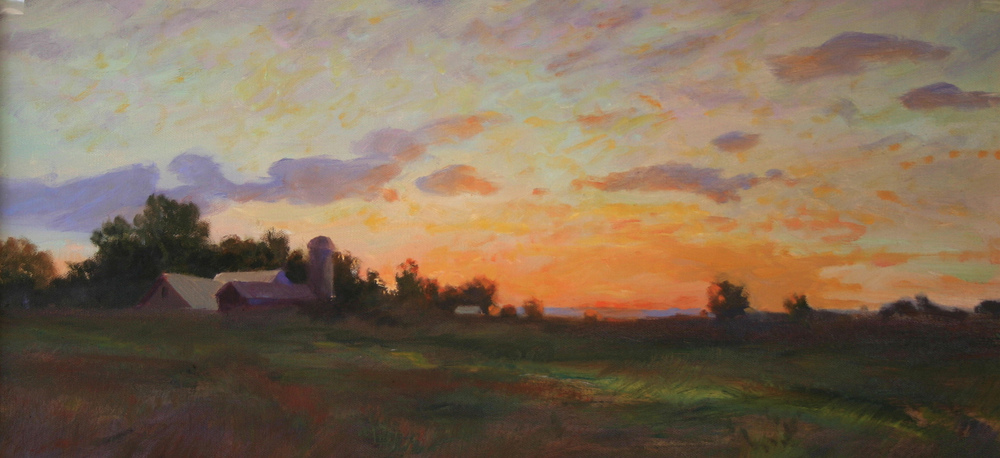 evening sky 12 x 24 oil on canvas