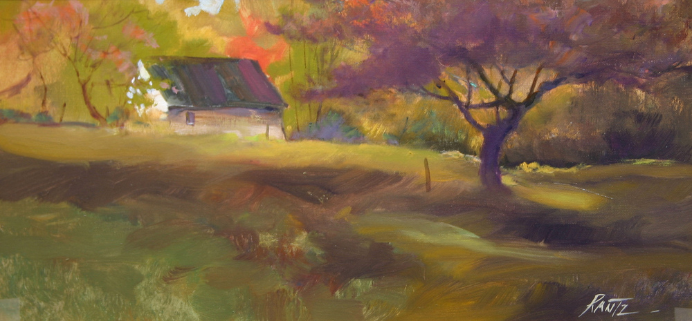 autumn tree and shed 12 x 24 oil on canvas