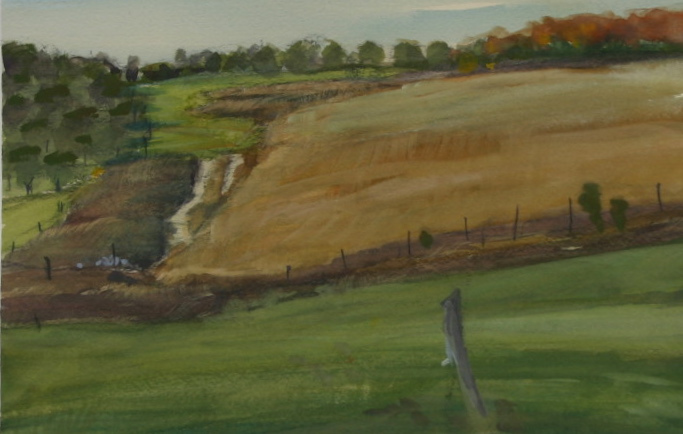 ROLLING FIELDS, POPP ROAD 10 X 14 WATERCOLOR