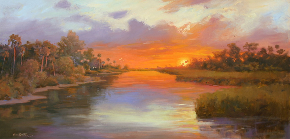 suwannee sunset 24 x 48 oil on canvas  S O L D