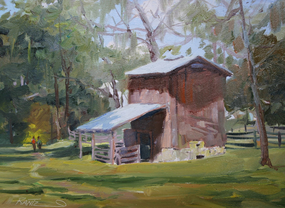 old florida tobacco barn 9 x 12 oil on masonite