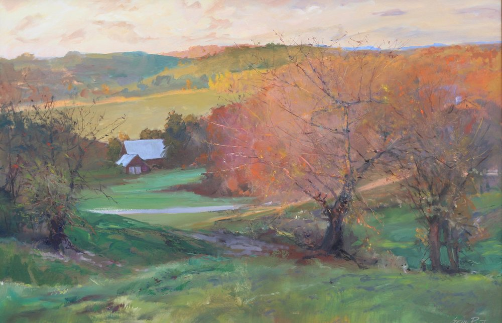 Old Apple Trees, Autumn Hillside 24 x 36 Oil - Available
