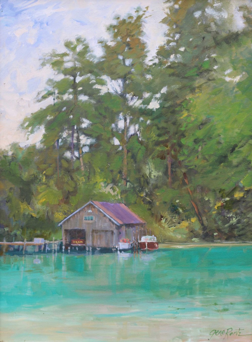 Boat House, Leland Michigan 24 x 18 Oil - Available at Trish's Dishes, Leland