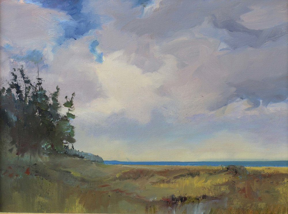 Lake View, Partially Sunny 12 x 16 Oil - Available At Bier Gallery, Charlevoix