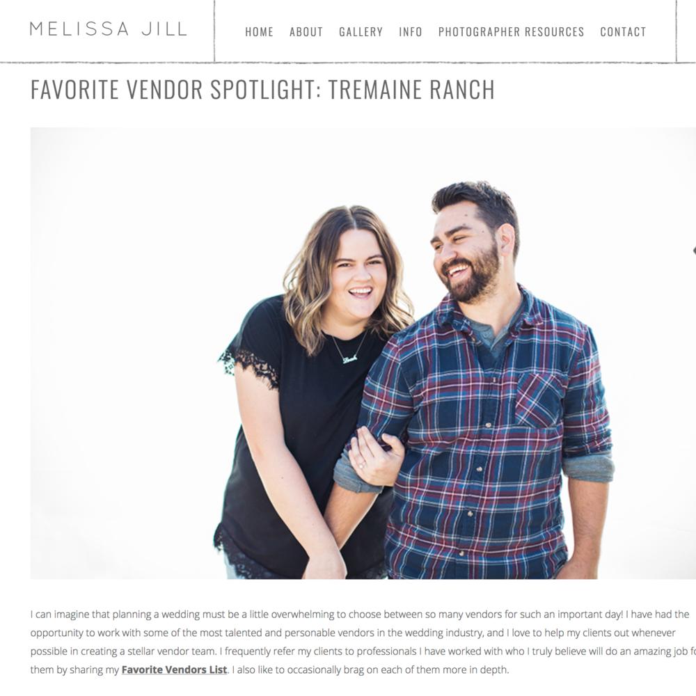 Vendor Spotlight: Tremaine Ranch - Featured On Melissa Jill