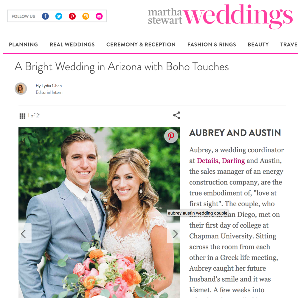 A Bright Arizona Wedding with Boho Touches - Featured On Martha Stewart