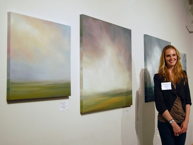 Circa 2012 -- at a gallery show (that I curated and hung!), still a few of my favorite paintings.  These were my first landscapes that really felt like me.