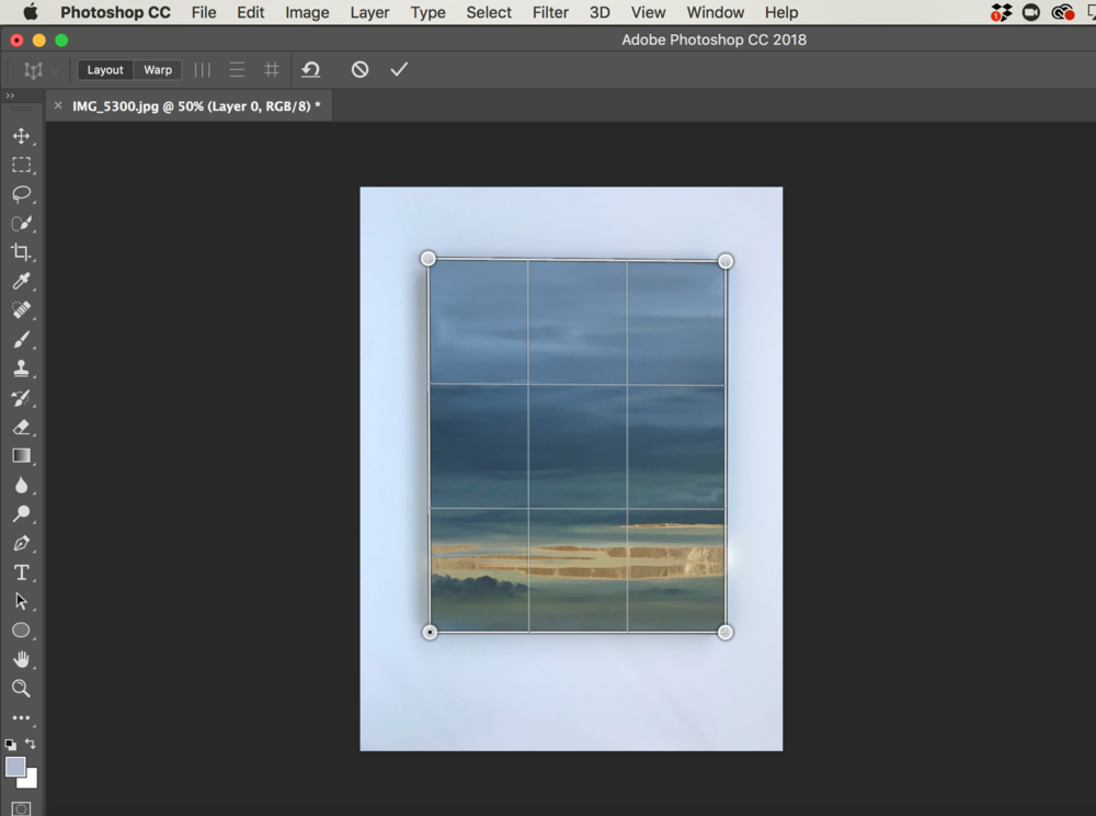 Click on the top left corner of your artwork, then drag each corner of grid to meet the corner of your artwork.    Press ENTER to lock-in grid.