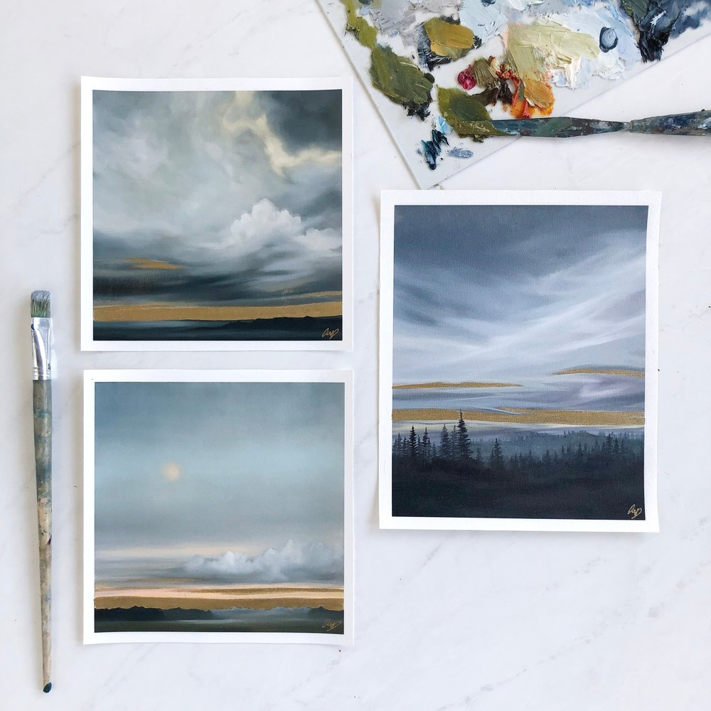 """Prints for Giveaway: (top) SHINE DOWN 8"""" x 8"""", (right) BREATHLESS 8"""" x 10"""", (bottom) YOU'RE MAKING ME BLUSH 8"""" x 8"""""""