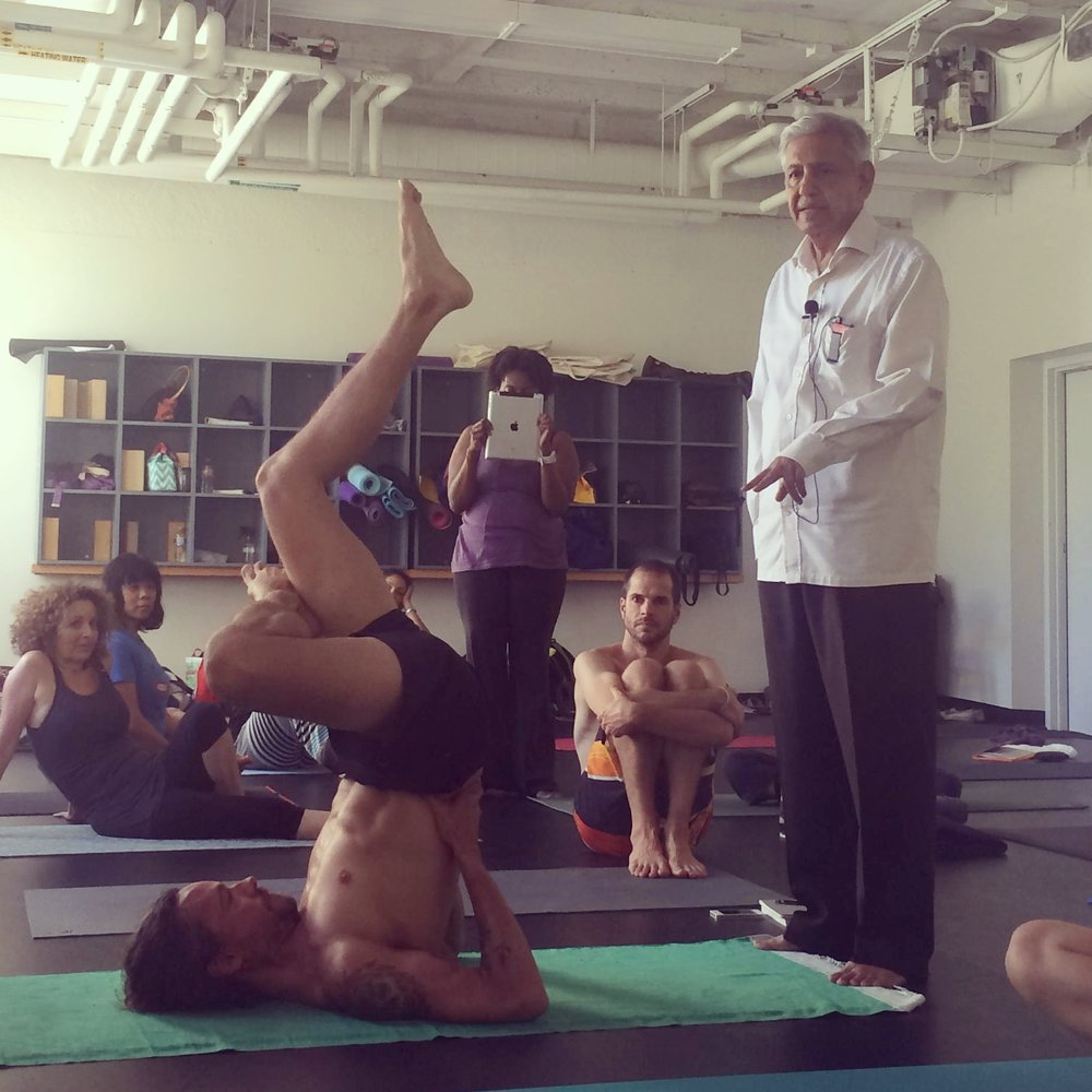 Ramaswami teaching me shoulderstand variations, Los Angeles 2014